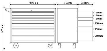 Wózek/Szafka narzędziowa z 6 szufladami P-1-04-02