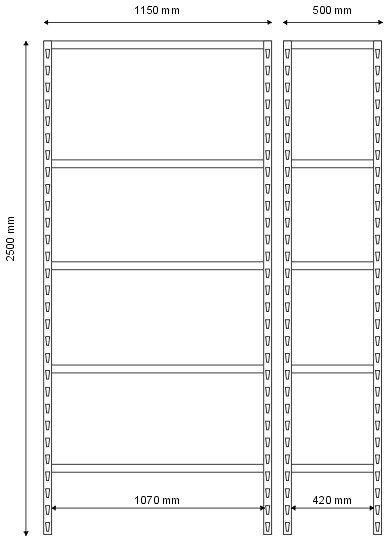 Regał magazynowy 2500x1150x500 - 5 półkowy lekki R-1-05-08
