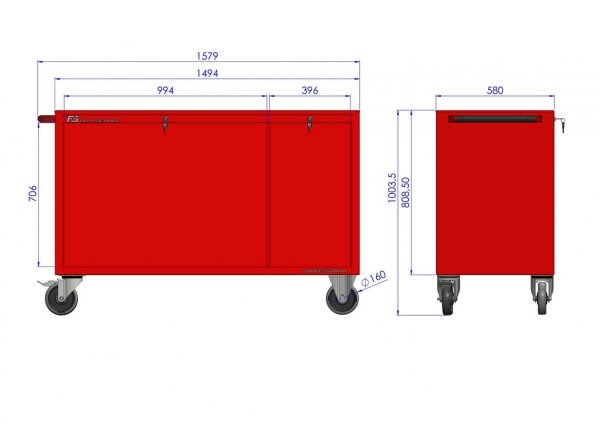 Wózek warsztatowy MEGA z 14 szufladami PM-211-15