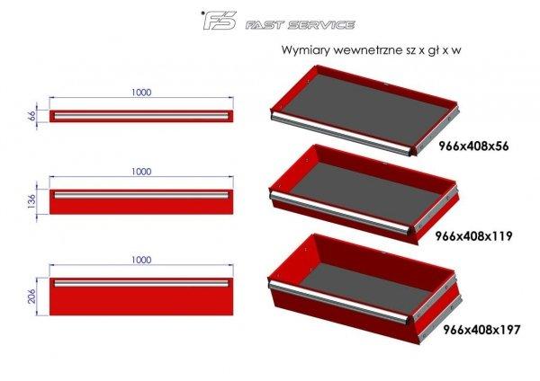 Wózek narzędziowy MEGA z 14 szufladami PM-216-20