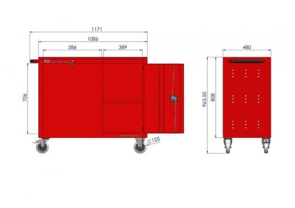 Wózek narzędziowy TRUCK z 5 szufladami i drzwiami PT-222-40