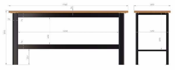 N-3-00-05 STÓŁ WARSZTATOWY PODSTAWOWY  BLAT POKRYTY POLIURETANEM  (SZER. BLATU 1960 mm)