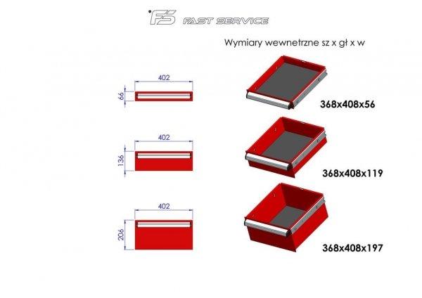 Wózek narzędziowy MEGA z 13 szufladami PM-215-16