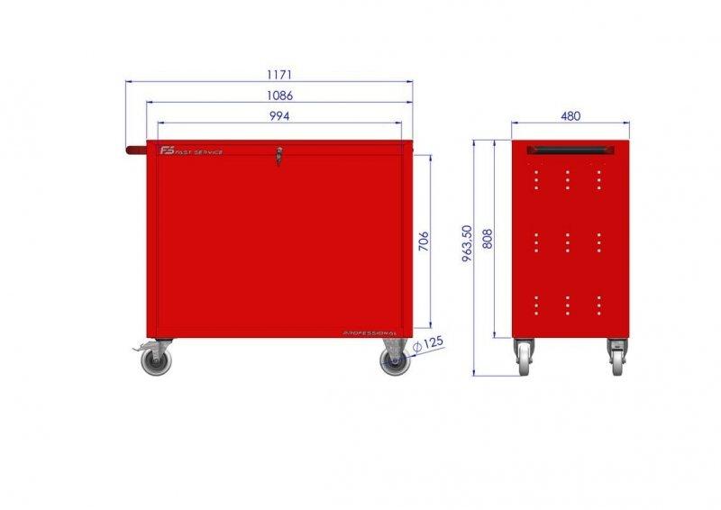 Wózek narzędziowy TRUCK z 10 szufladami PT-210