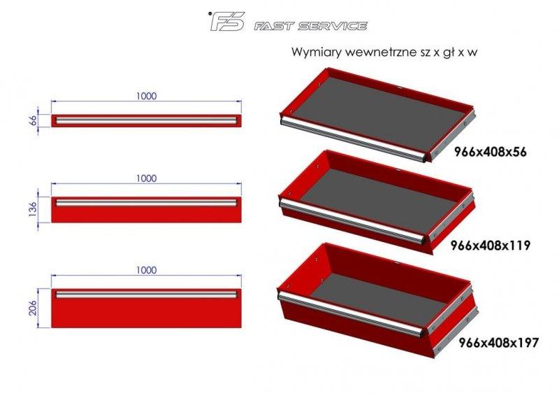 Wózek narzędziowy MEGA z 15 szufladami PM-216-19