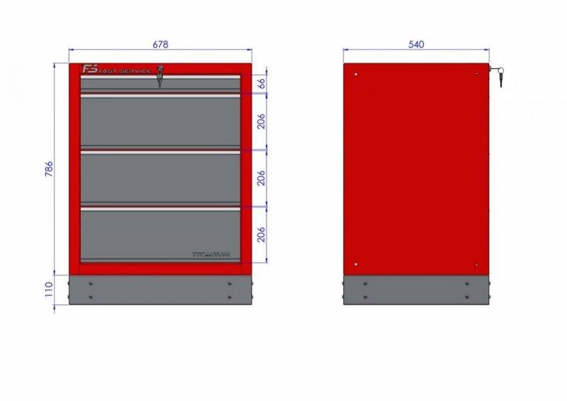 Szafka warsztatowa z 4 szufladami – T-18   wymiary fast service