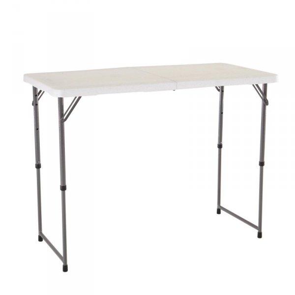Stół składany w pół 122 cm o regulowanej wysokości (biały granit) 4428