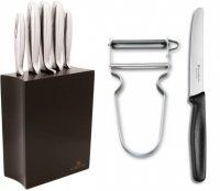 Gerlach 993 - zestaw 5 noży kuchennych w czarnym bloku + obieraczka i nożyk