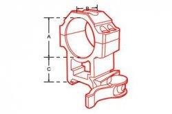 Montaż szybki dwuczęściowy niski Leapers UTG 1''/weaver Quick Detach 4 śruby