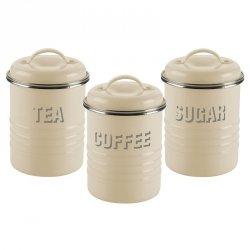 Zestaw 3 poj. na herbatę, kawę i cukier,krem.