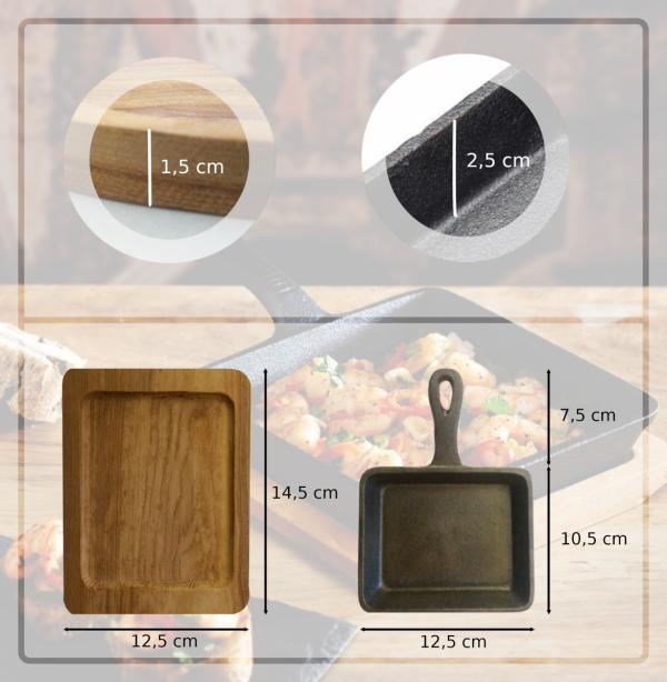 Patelnia żeliwna prostokątna mini z deską do serwowania Kitchen Craft