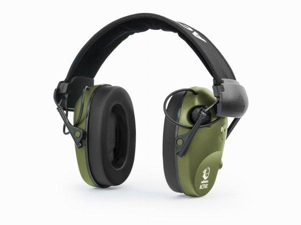Słuchawki ochronne aktywne RealHunter ACTiVE Pro oliwkowe + okulary ochronne