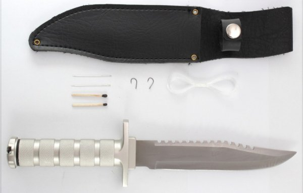 Nóż survivalowy 30 cm z kompasem i nie tylko!