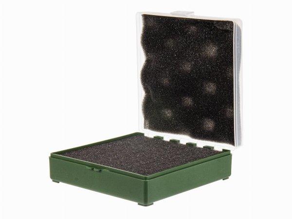 Pudełko Megaline 11x11x3,5 cm zielono-przezroczyste gąbka 1 szczęka rekina