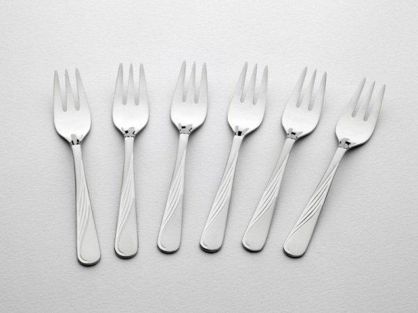 Gerlach Sztućce Celestia - komplet widelczyków do ciasta 6 szt. dla 6 osób, matowione