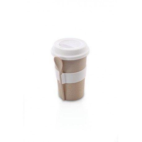 Cook kubek do kawy z łyżeczką (kremowy)