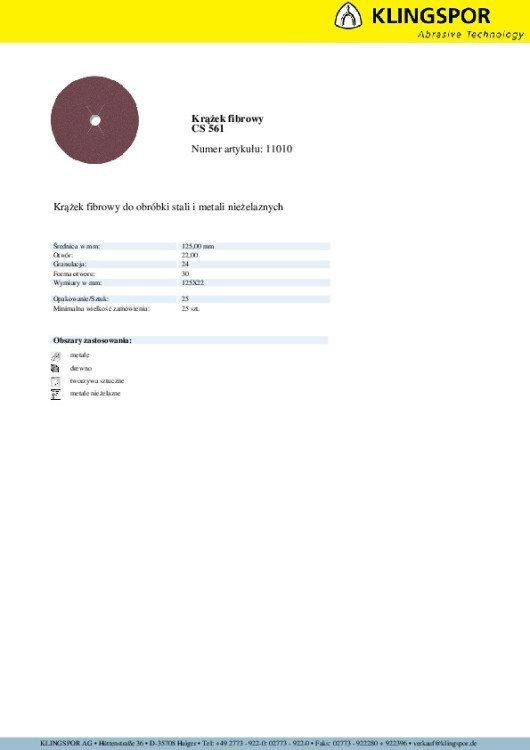 KRĄŻEK FIBROWY CS561 GRANULACJA 24 125MM 11010