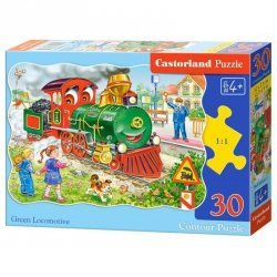 Puzzle 30 el. green locomotive