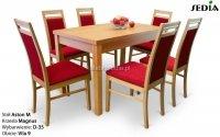 Stół Aston M + 6 krzeseł Magnus satyna