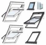 Okno Dachowe Velux GLU 0051 Uw = 1,3 Drewniano-poliuretanowe białe okno obrotowe z górnym otwieraniem i energooszczędnym, hartowanym pakietem szybowym