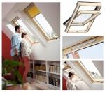 Okno Dachowe Velux GZL 1051B Uw=1,3 Drewniane Okno obrotowe z dolnym otwieraniem i energooszczędnym, hartowanym pakietem szybowym