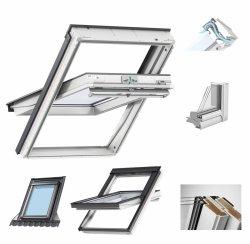 Okno Dachowe Velux GGU 0068 Uw = 1,1 Drewniano-poliuretanowe białe okno obrotowe superenergooszczędne, szkło hartowane i laminowane P2A