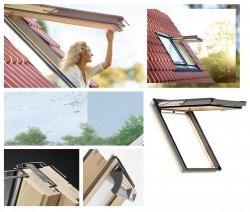 Okno Dachowe Velux GPL 3070 Uw = 1,3 Drewniane Okno klapowo-obrotowe o dużym kącie otwarcia z szybą energooszędną, hartowaną i laminowaną P2A