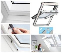 Okno Dachowe Velux GGU 0070Q Uw = 1,3 Drewniano-poliuretanowe białe obrotowe Okno antywłamaniowe klasy 2, z szybą antywłamaniową, laminowaną klasy P4A
