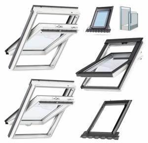 Okno Dachowe Velux GLU 0051 Uw = 1,3 Drewniano-poliuretan<br />owe białe okno obrotowe z górnym otwieraniem i energooszczędnym, hartowanym pakietem szybowym
