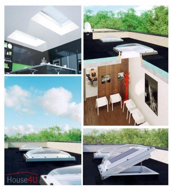 Fakro Elektryczne Okno do dachu płaskiego DEC-M P2 kopuła matowa, Ug=1,1 W/m²K otwierane elektrycznie w bezprzewodowym systemie Z-Wave