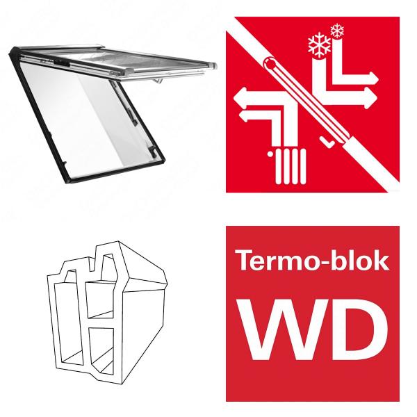 Okno dachowe Roto uchylno-wysokościowe Designo R89G K200 Okno z pakietem 3-szybowym Comfort, szkło hartowane i laminowane, plastikowe Uw = 1,0/0,99 Termo-blok WD