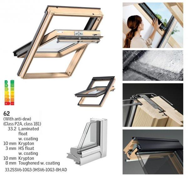 Okno Dachowe Velux GGL 3062 Uw = 0,92 Drewniane Okno obrotowe superenergooszczędne, szkło hartowane i laminowane P2A z pakietem świetnej redukcji hałasu