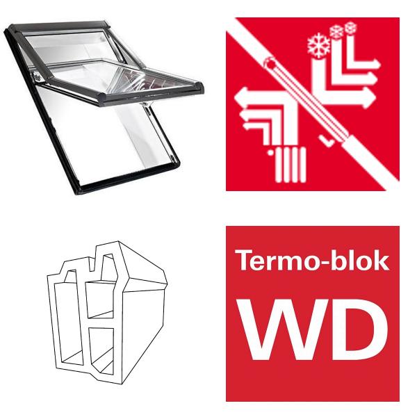 Okno dachowe Roto obrotowe Designo  R69P K200 Okno z pakietem 3-szybowym Premium, szkło hartowane i laminowane, plastikowe Uw = 0,82/0,8 , Termo-blok WD