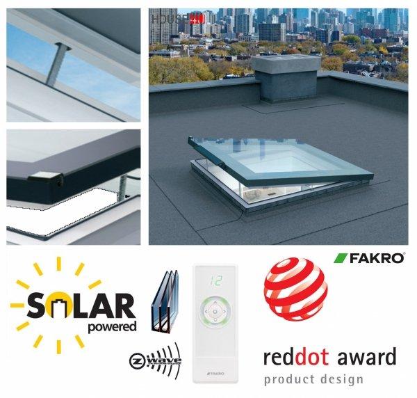 Fakro Okno do dachu płaskiego DEF DU6 z ultra-energooszczędną szybą DU6 Uw=0,70 W/m2K, otwierane elektryczne, bezprzewodowy system Z-Wave