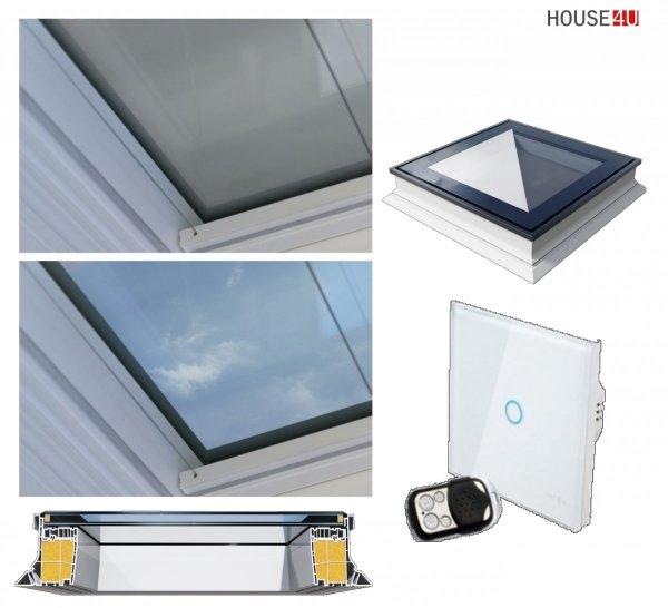 Okno dachowe Okpol PGX A4, okno nieotwierane, dwuszybowe, w kolorze białym PVC UW=1,1, z szybą elektrycznie mrożoną, sterowane pilotem AP5
