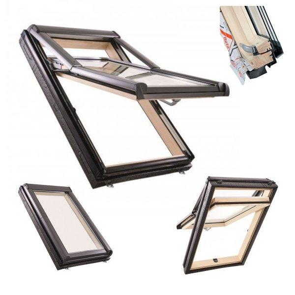 Okno Dachowe Roto Designo  R79 H200 Okno wysokościowe z pakietem 3-szybowym, folia  paraizolacyjna, Termo- blok WD, Drewniane