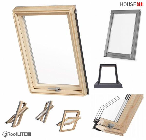 Okno dachowe ROOFLITE TRIO, trzyszybowe Uw=1,1 W/m²K, drewniane, Drewno sosnowe (FSC) RAL 7043 z kołnierzem do pokryć falistych ROOFLITE TFX