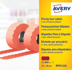Etykieta do metk.1rz.12x26mm czerwona AVERY 1500szt.rolka RPLP1226