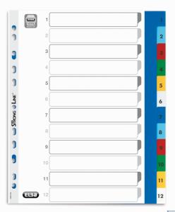 Przekładki A4 MAXI 1-12 kolor PP numeryczne ELBA 100204813