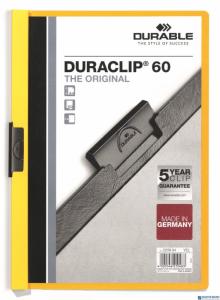 Skoroszyt z klipem A4 DURABLE DURACLIP 1-60 kartek żółty 220904
