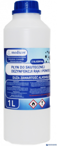 Płyn do dezynfekcji rąk i powierzchni 1l MEDICOR alkohol >75% wirusobójczy 8%VAT