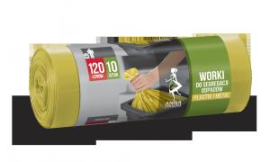 Worki na śmieci do segregacji odpadów PLASTIK I METAL 120L 10szt. żółte (LDPE) ANNA ZARADNA  7