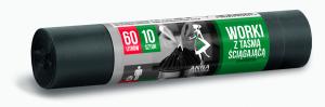 Worki na śmieci  60L 10szt/op z taśmą supermocne czarne ANNA ZARADNA WNS0561