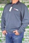 Sweter typu polo nadwymiar grafitowy.