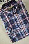 Koszula z kory granatowa w czerwoną kratkę.