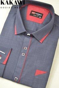 Koszula elegancka granatowa z bordowymi zdobieniami.