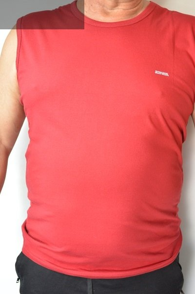 T-shirt bez rękawa bordowy nadwymiar.