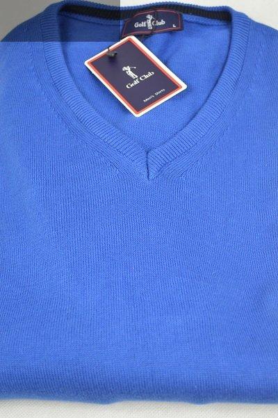 Elegancki sweter w serek niebieski