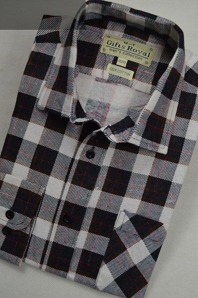 Koszula flanelowa z dwiema kieszeniami szaro-biała