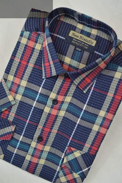 Koszula z kory granatowo-zielona w kratkę